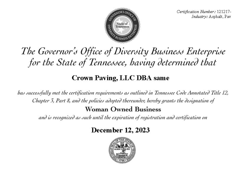 Crown Paving - Certificate-GoDBE